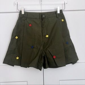 Diesel Embroidered Star Khaki Pleated Shorts